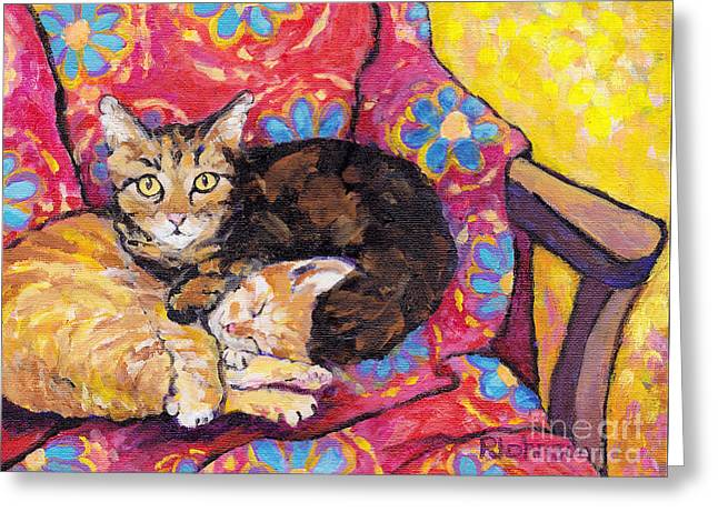 Pairs Greeting Cards - Two Cat Nap Greeting Card by Peggy Johnson