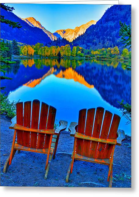 Mirrored Greeting Cards - Two Chairs in Paradise Greeting Card by Scott Mahon
