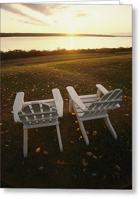 Benches And Chairs Greeting Cards - Two Chairs In The Sunlight Greeting Card by Bill Curtsinger