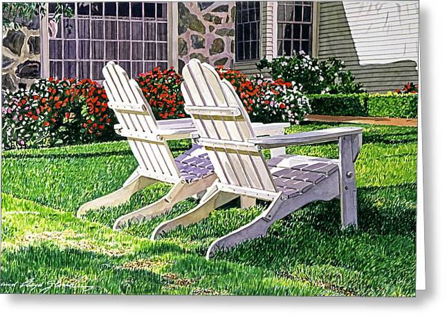 Adirondack Greeting Cards - Two Chairs on Carmelina Greeting Card by David Lloyd Glover