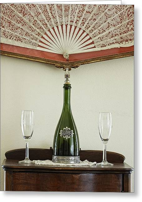 Champagne Glasses Greeting Cards - Two Champagne Flutes Greeting Card by Robert Grauer