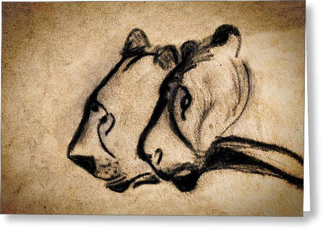 Two Chauvet Cave Lions Greeting Card by Weston Westmoreland