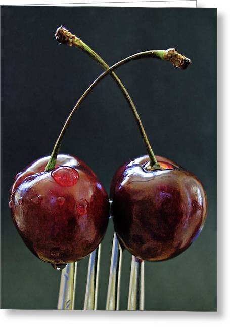 Two Cherries Are Better Than One Greeting Card by Maggie Terlecki