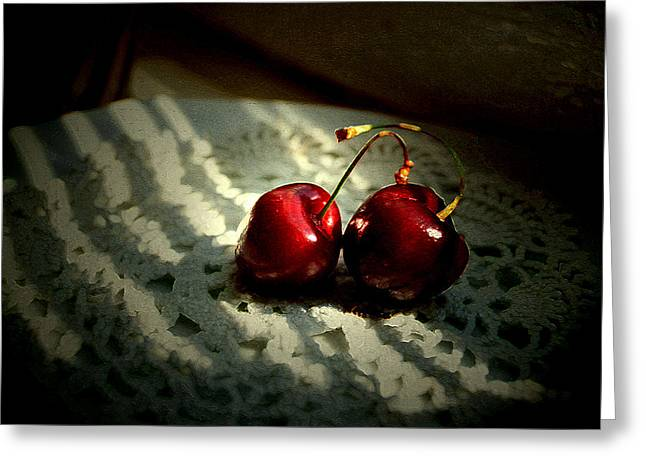 Interior Still Life Greeting Cards - Two Cherries Greeting Card by Lana Art