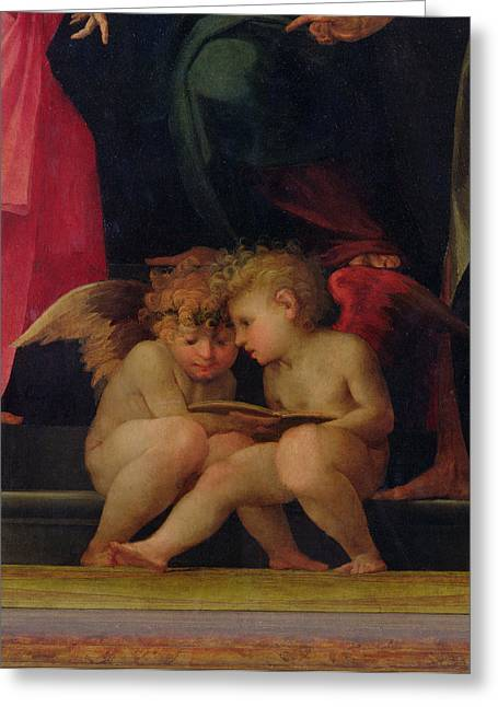 Madonna And Child Greeting Cards - Two cherubs reading detail from Madonna and Child with Saints Greeting Card by Giovanni Battist Rosso Fiorentino