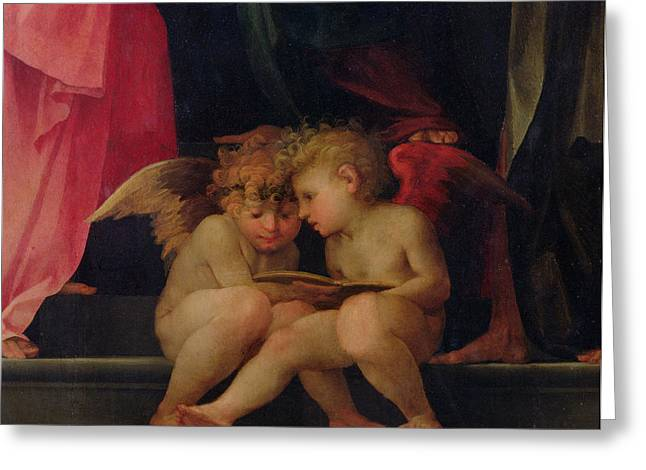 Two cherubs reading detail from Madonna and Child with Saints Greeting Card by Giovanni Battist Rosso Fiorentino