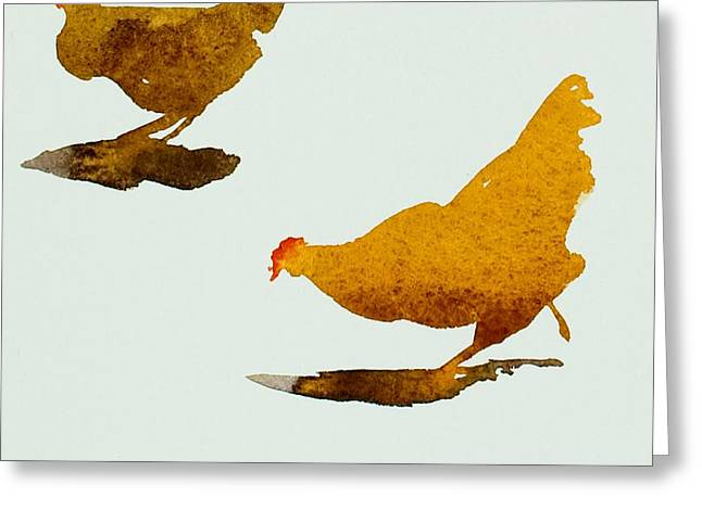 Two Birds Greeting Cards - Two Chickens Greeting Card by Simon Fletcher