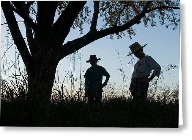 Model Released Photography Greeting Cards - Two Children In Cowboy Hats Greeting Card by Joel Sartore