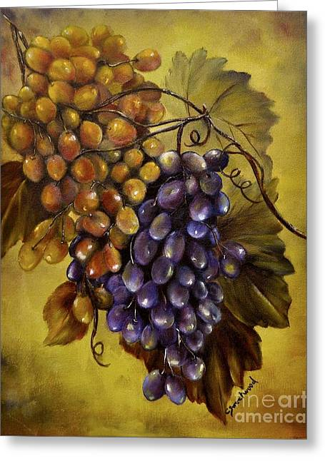 Grapevines Paintings Greeting Cards - Two choices Greeting Card by Carol Sweetwood