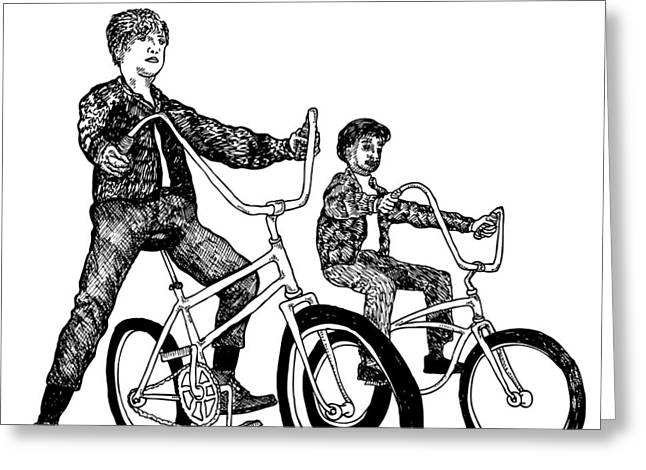 Bad Drawing Greeting Cards - Two Cool Riders Greeting Card by Karl Addison
