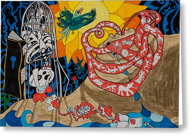 Two Creation Stories Greeting Card by Eliza Furmansky