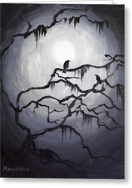 Fantasy Tree Greeting Cards - Two Crows and Spanish Moss Greeting Card by Melissa Herrin
