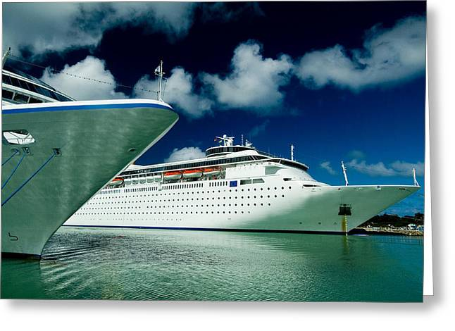 Two Cruise Ships Docked At A Caribbean Greeting Card by Todd Gipstein
