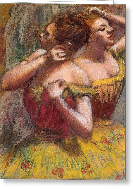 Dancers (pastel) By Edgar Degas (1834-1917) Greeting Cards - Two Dancers Greeting Card by Edgar Degas