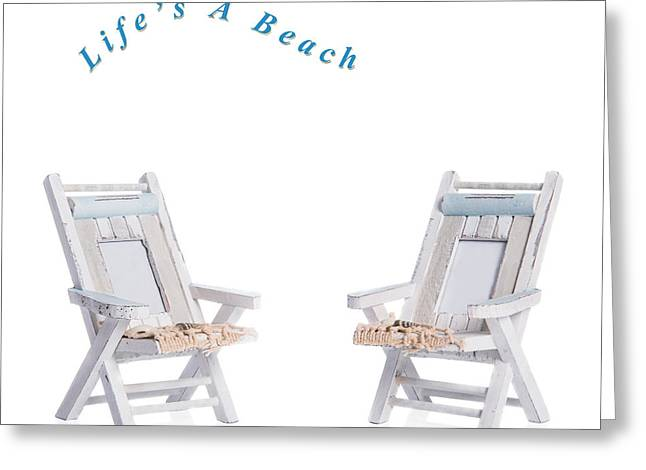 Deckchair Greeting Cards - Two Deck Chairs Greeting Card by Amanda And Christopher Elwell