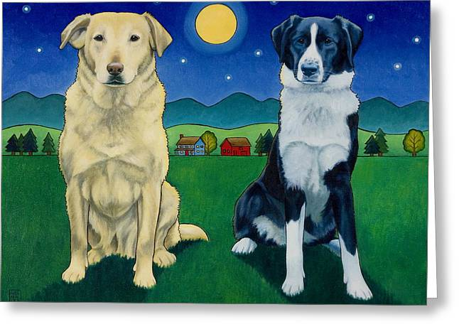 Art For Children Greeting Cards - Two Dog Night Greeting Card by Stacey Neumiller