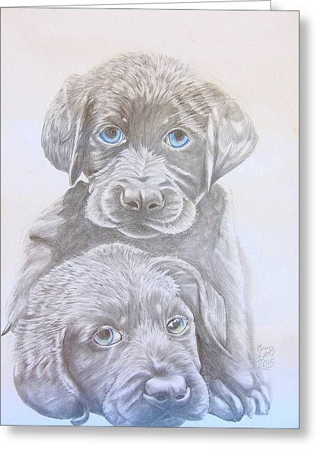 Puppies Drawings Greeting Cards - Two Dogs Greeting Card by Emma Lyon