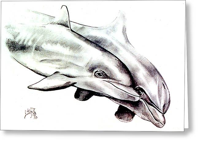 Dolphins Drawings Greeting Cards - Two Dolphins Greeting Card by John Keaton