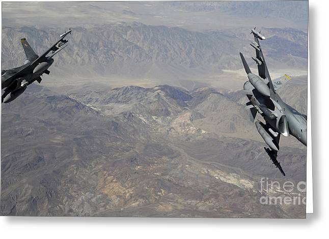 Cooperation Greeting Cards - Two F-16 Fighting Falcons Break Greeting Card by Stocktrek Images
