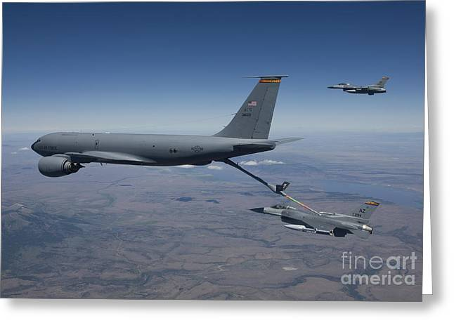 Refueling Greeting Cards - Two F-16 Fighting Falcons Conduct Greeting Card by HIGH-G Productions