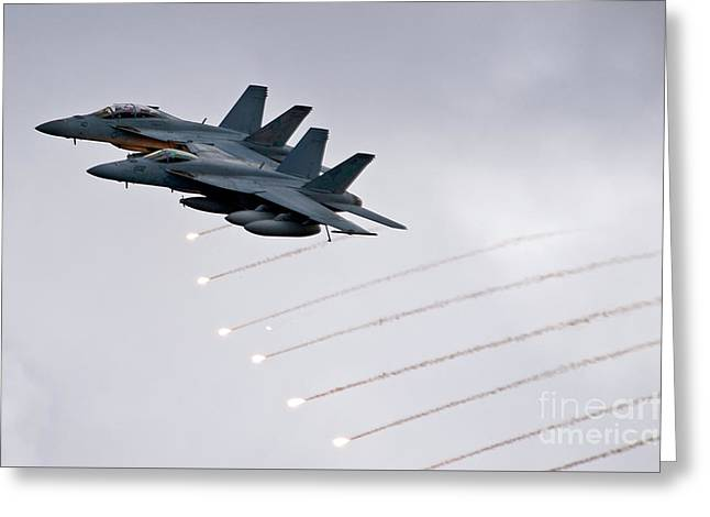 Fa-18 Greeting Cards - Two FA-18 Super Hornets drop flares Greeting Card by Celestial Images