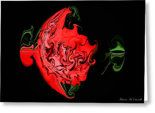 Portrait Of Evil Greeting Cards - Two Faced Greeting Card by Karen M Scovill