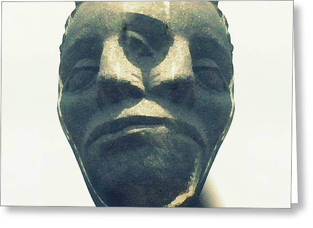 Statue Portrait Greeting Cards - Two Faced Greeting Card by Marcia Lee Jones