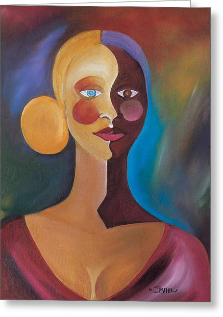 Plunging Greeting Cards - Two Faces of Eve Greeting Card by Ikahl Beckford