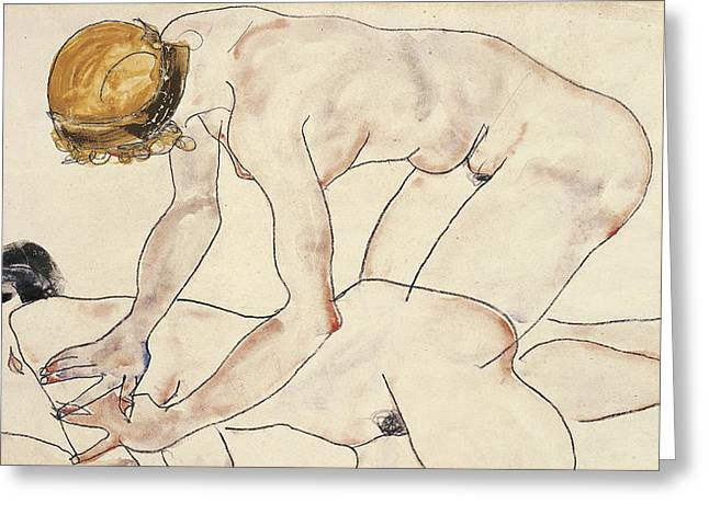 Two Female Nudes Greeting Card by Egon Schiele