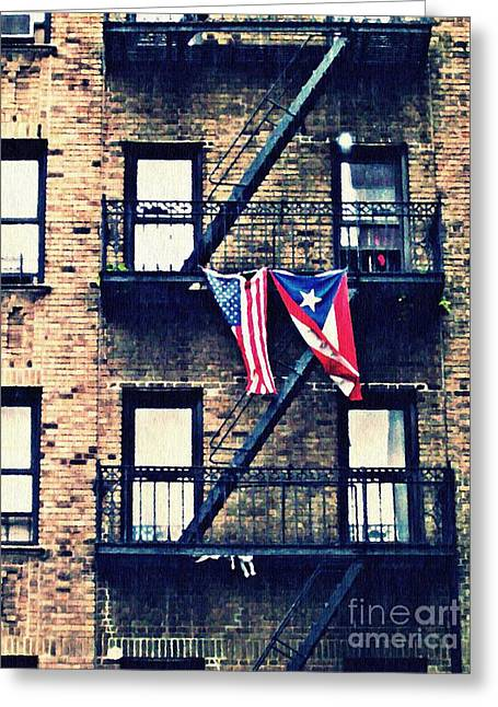 Puerto Rican Greeting Cards - Two Flags in Washington Heights Greeting Card by Sarah Loft