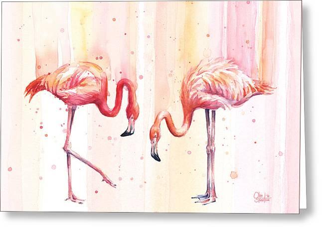 Two Flamingos Watercolor Greeting Card by Olga Shvartsur