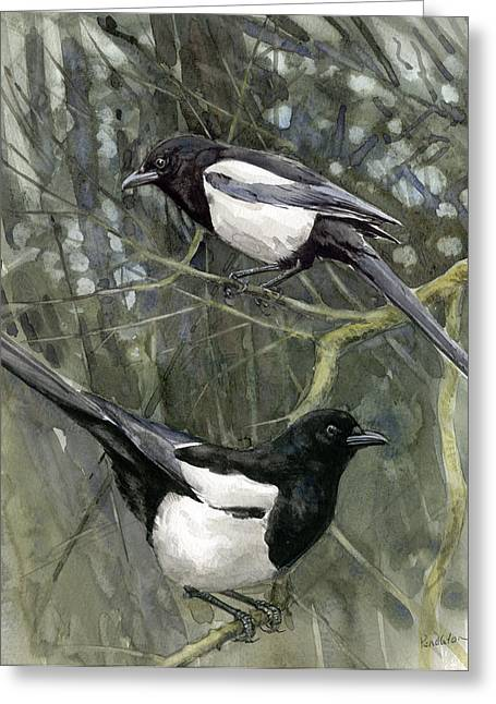 Magpies Greeting Cards - Two for Joy Greeting Card by Chris Pendleton