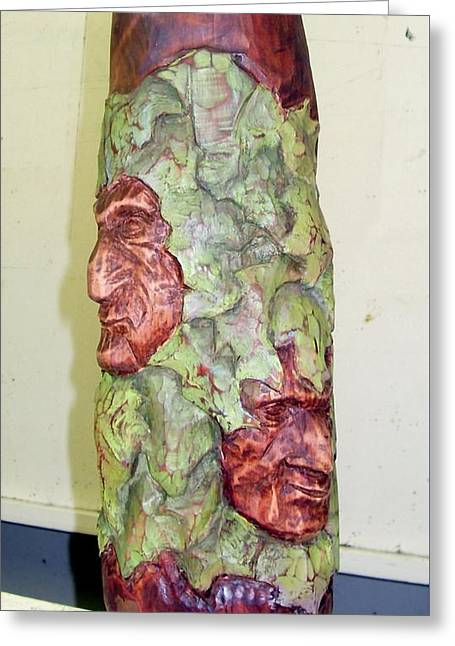 Cedar Sculptures Greeting Cards - Two for One Greeting Card by Sheila Sims
