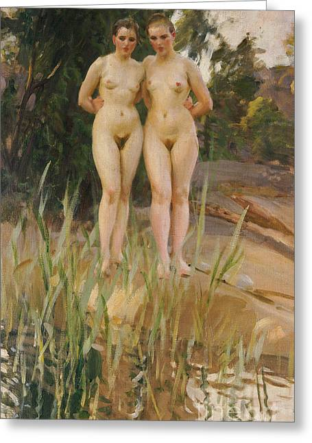 Nude Female Greeting Cards - Two Friends  Greeting Card by Anders Leonard Zorn