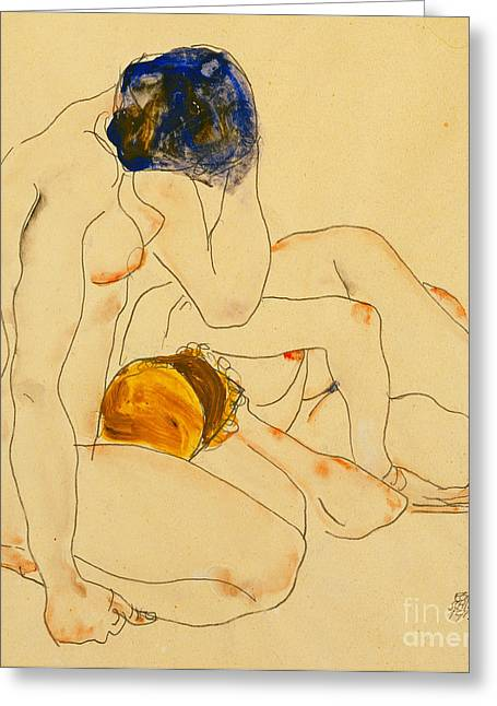 Couple Greeting Cards - Two Friends Greeting Card by Egon Schiele