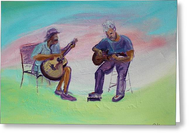 Print On Canvas Greeting Cards - Two Friends playing Guitar Greeting Card by Asha Carolyn Young