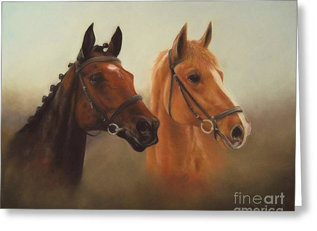 Dressage Pastels Greeting Cards - Two Friends Greeting Card by Sabina Haas