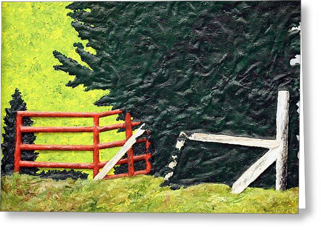 Nature Abstracts Reliefs Greeting Cards - Two Gates Greeting Card by Bill Hughey