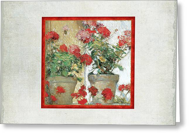 Two Geranium Pots Greeting Card by Audrey Jeanne Roberts