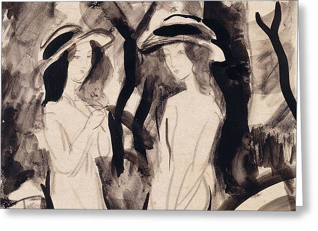 Pen And Ink Drawing Greeting Cards - Two Girls Greeting Card by August Macke