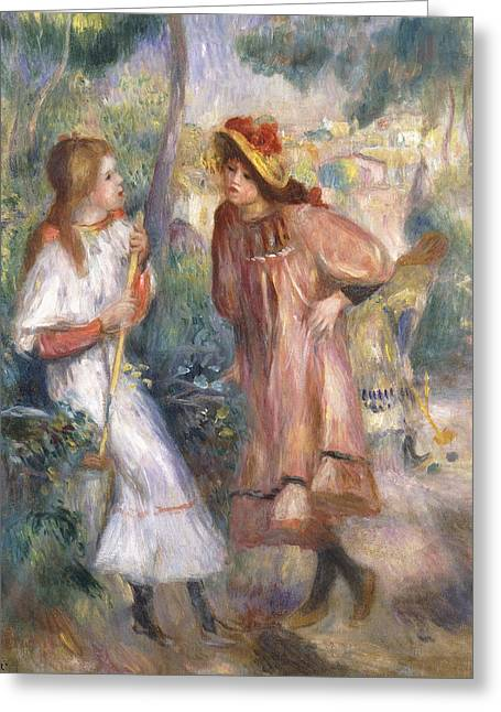 Two Girls In The Garden At Montmartre Greeting Card by Pierre Auguste Renoir