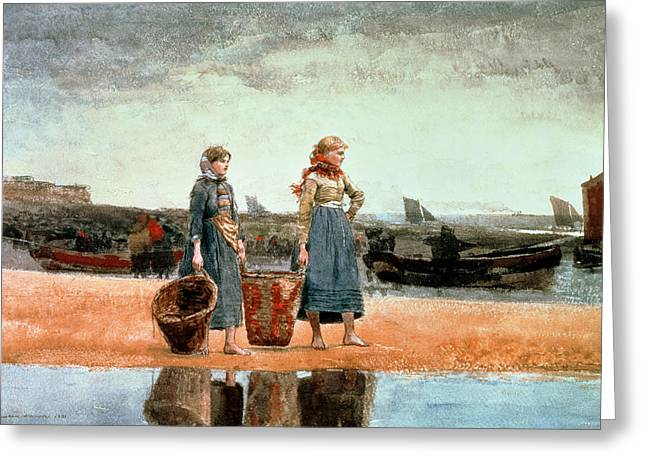 Yachting Greeting Cards - Two Girls on the Beach Greeting Card by Winslow Homer