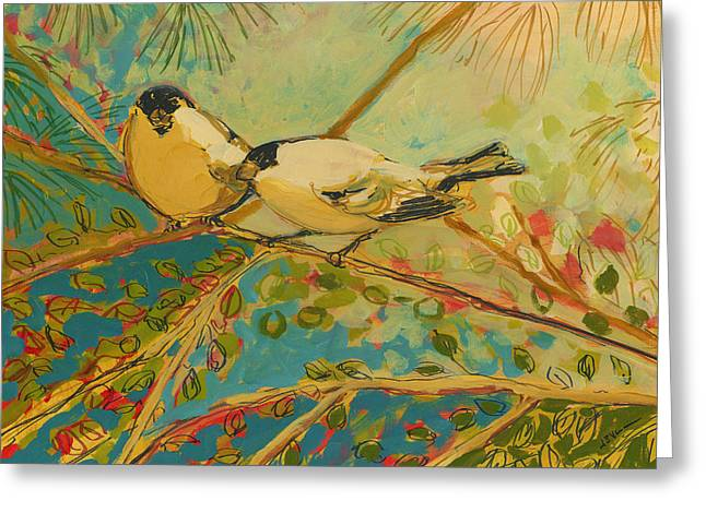 Forest Bird Greeting Cards - Two Goldfinch Found Greeting Card by Jennifer Lommers
