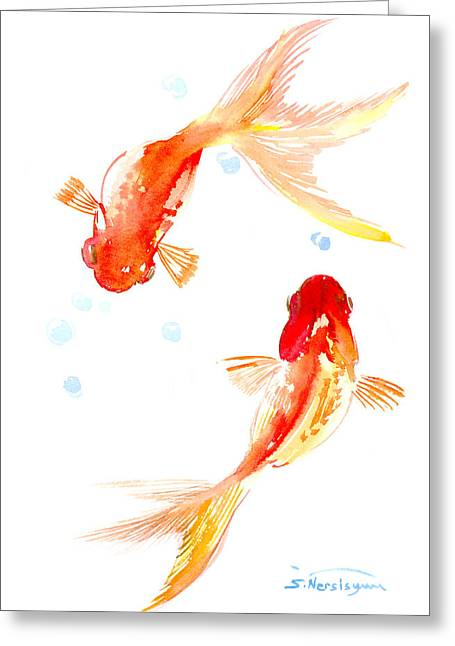 Two Goldfish Feng Shui Greeting Card by Suren Nersisyan