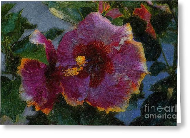 Van Gogh Style Photographs Greeting Cards - Two Grand Passion Hibiscus Greeting Card by John  Kolenberg