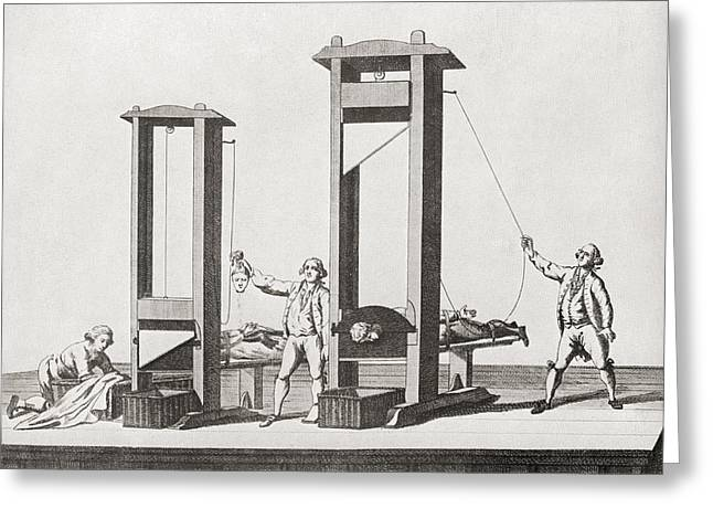 Beheading Greeting Cards - Two Guillotines From The Time Greeting Card by Ken Welsh