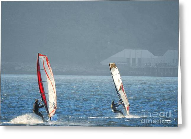 Best Sailing Photos Greeting Cards - Two Guys Windsurfing Greeting Card by Scott Cameron