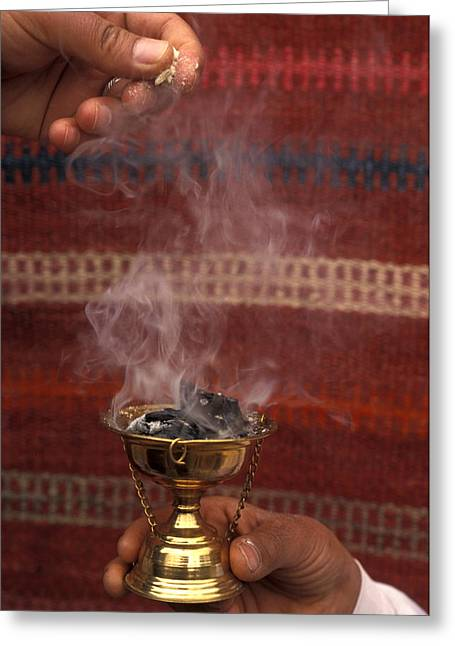 Jordan Art Greeting Cards - Two Hands Burn Traditional Spices Greeting Card by Richard Nowitz