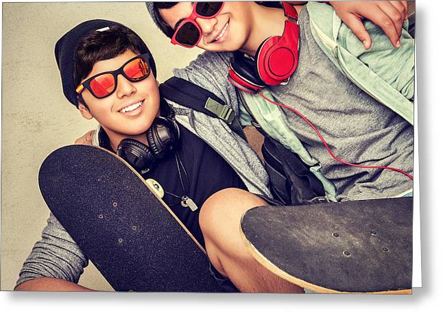 Person Greeting Cards - Two happy teen boys Greeting Card by Anna Omelchenko