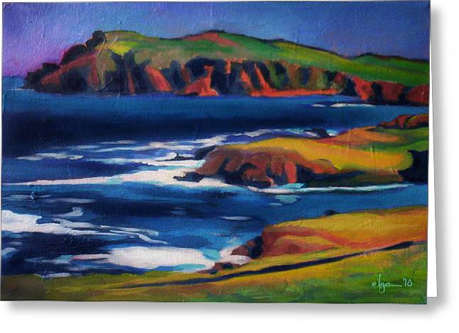 Seascape. Headland Greeting Cards - Two Heads Better than One Greeting Card by Angela Treat Lyon
